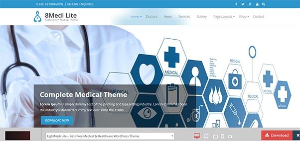 Eightmedi Lite WordPress theme Allied Health